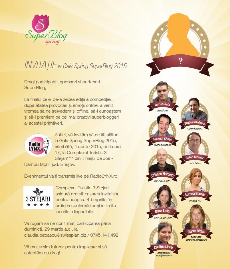 Invitatie Gala Spring SuperBlog 2015